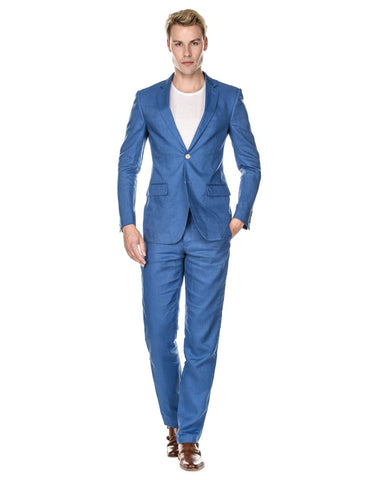 Mens Modern Fit Linen Wedding Suit Indigo