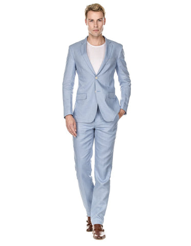 Mens Modern Fit Linen Wedding Suit Light Blue