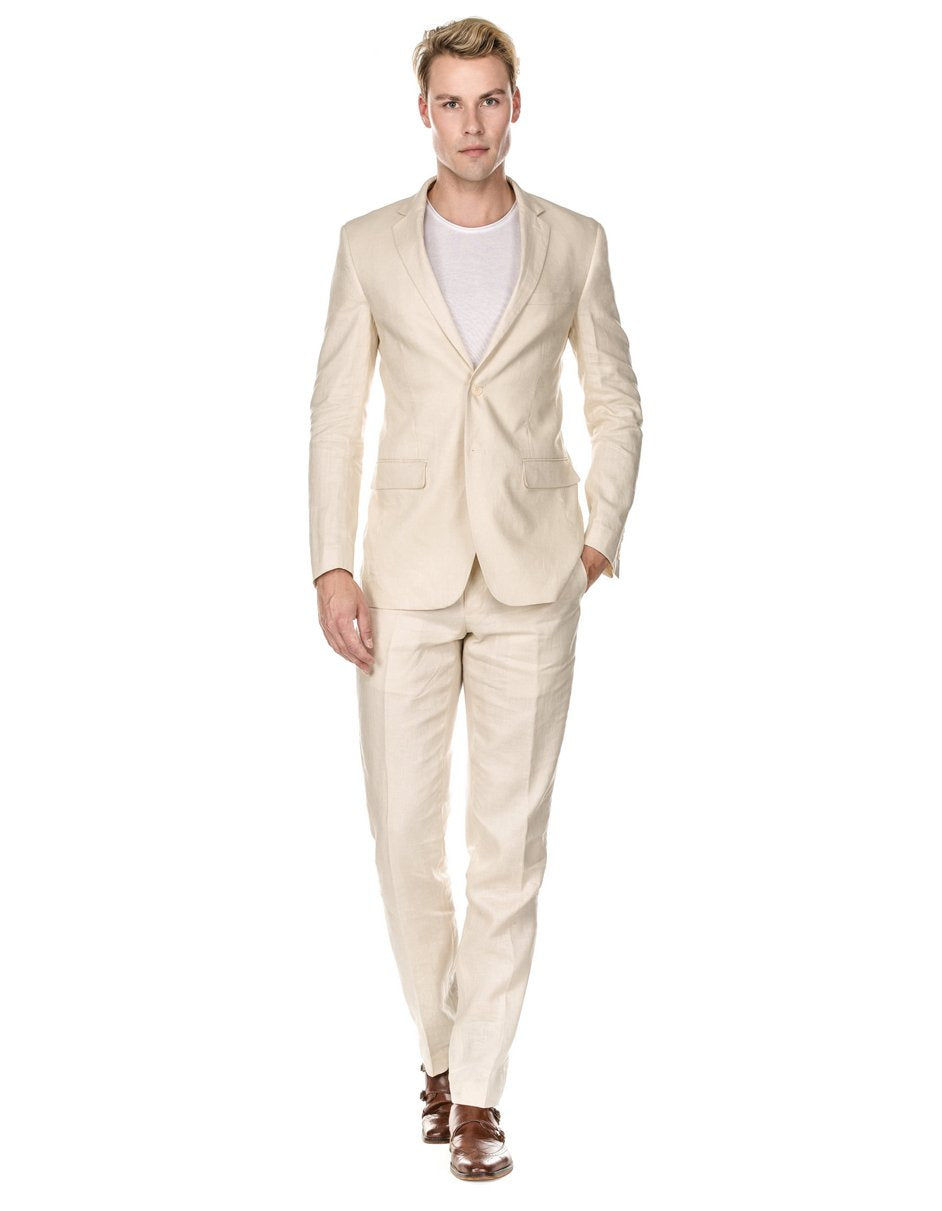 Mens Modern Fit Linen Wedding Suit Natural Tan