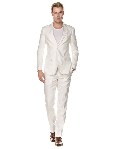 Mens Modern Fit Linen Wedding Suit White