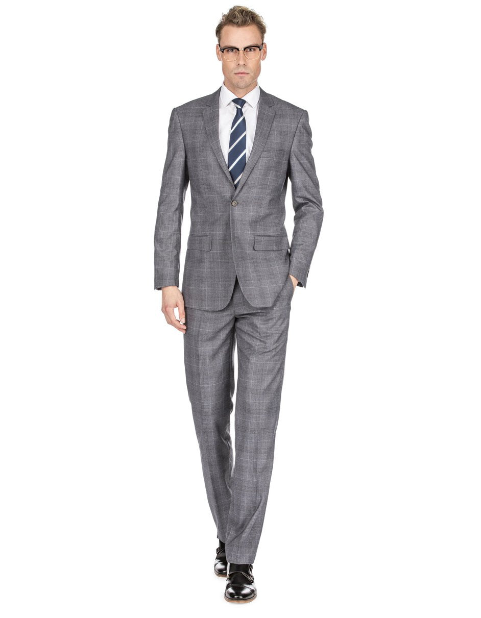 Mens Modern Fit Plaid Suit Grey