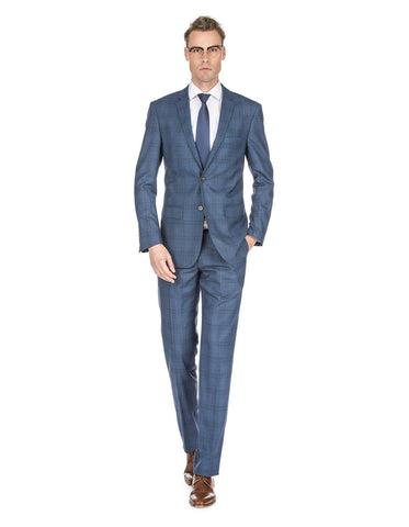 Mens Modern Fit Plaid Suit Indigo