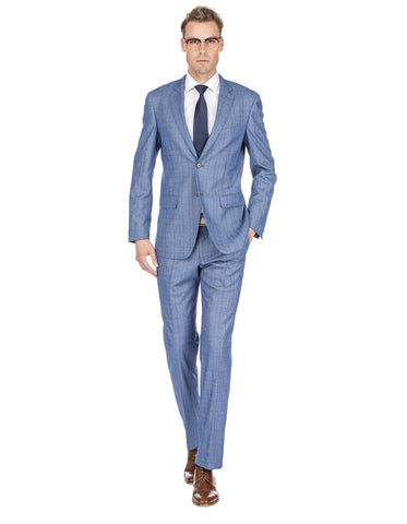 Mens Modern Fit Plaid Suit Light Blue