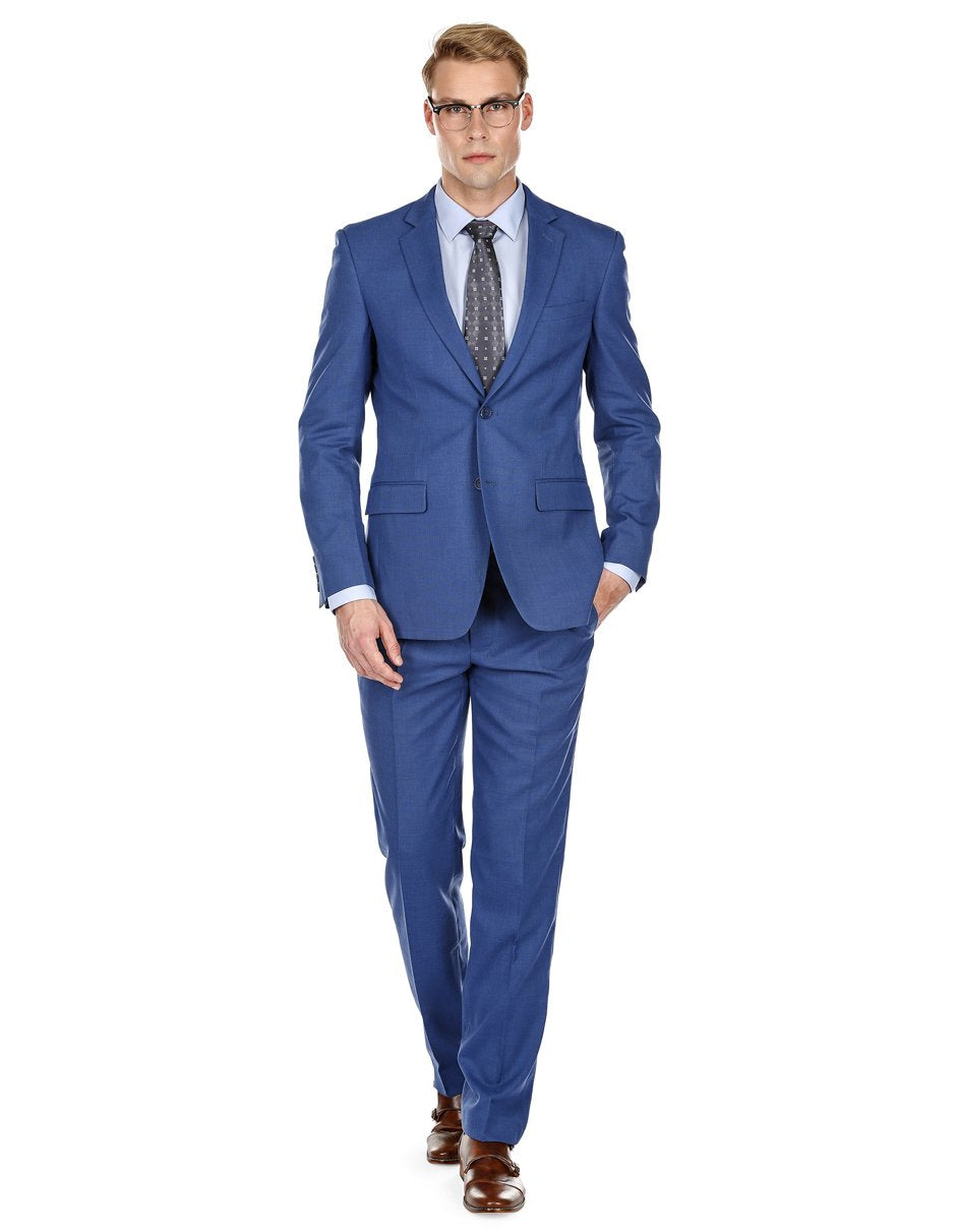 Mens Modern Fit Summer Wedding Suit Indigo Blue