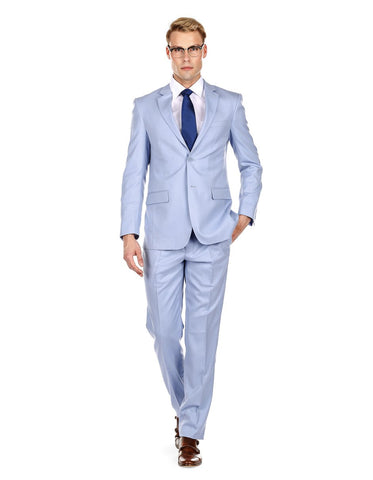 Mens Modern Fit Summer Wedding Suit Light Blue
