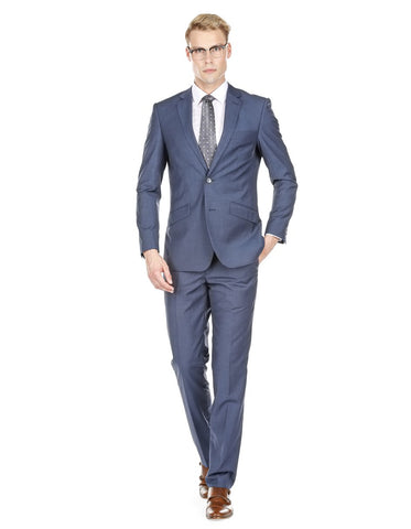 Mens Modern Fit Textured Suit Indigo Blue