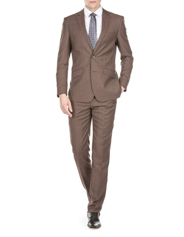 Mens Modern Fit Textured Suit Light Brown