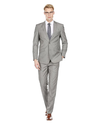 Mens Modern Fit Textured Suit Light Grey