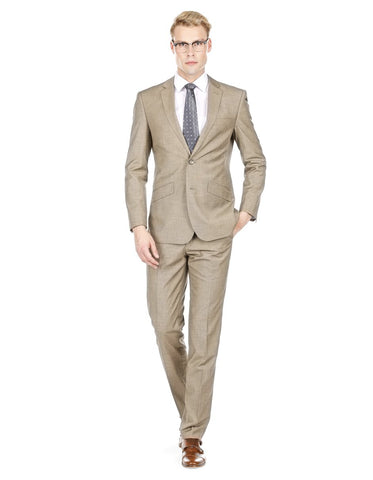 Mens Modern Fit Textured Suit Light Taupe