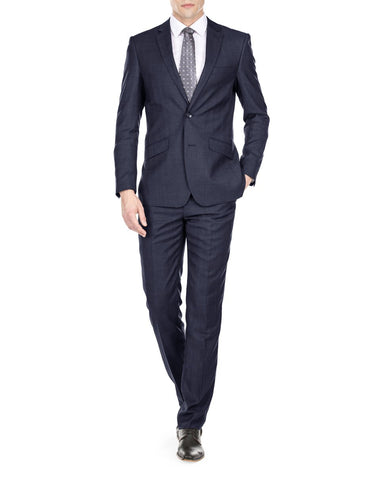 Mens Modern Fit Textured Funeral Suit Navy Blue