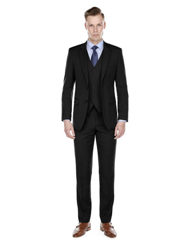 Mens Modern Fit Vested Suit Black