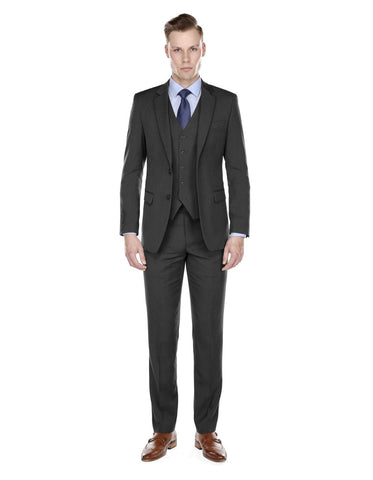 Mens Modern Fit Vested Suit Charcoal Grey