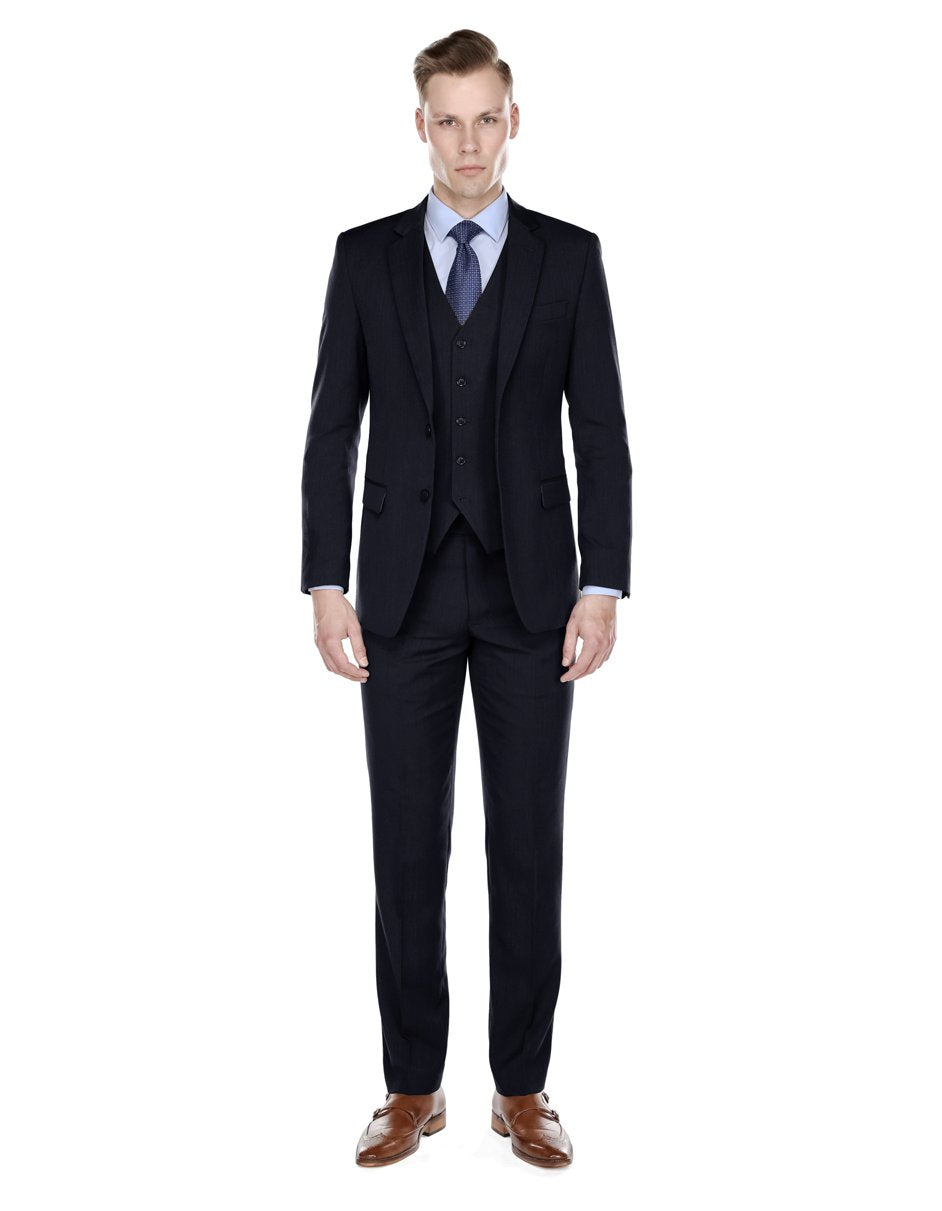 Mens Modern Fit Vested Suit Navy Blue