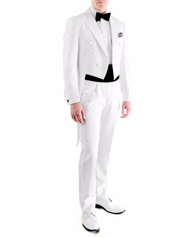 Mens Modern Wedding Tail Tuxedo in White