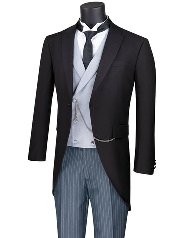 Mens Vested Morning Coat Tail Cutaway Tuxedo in Black