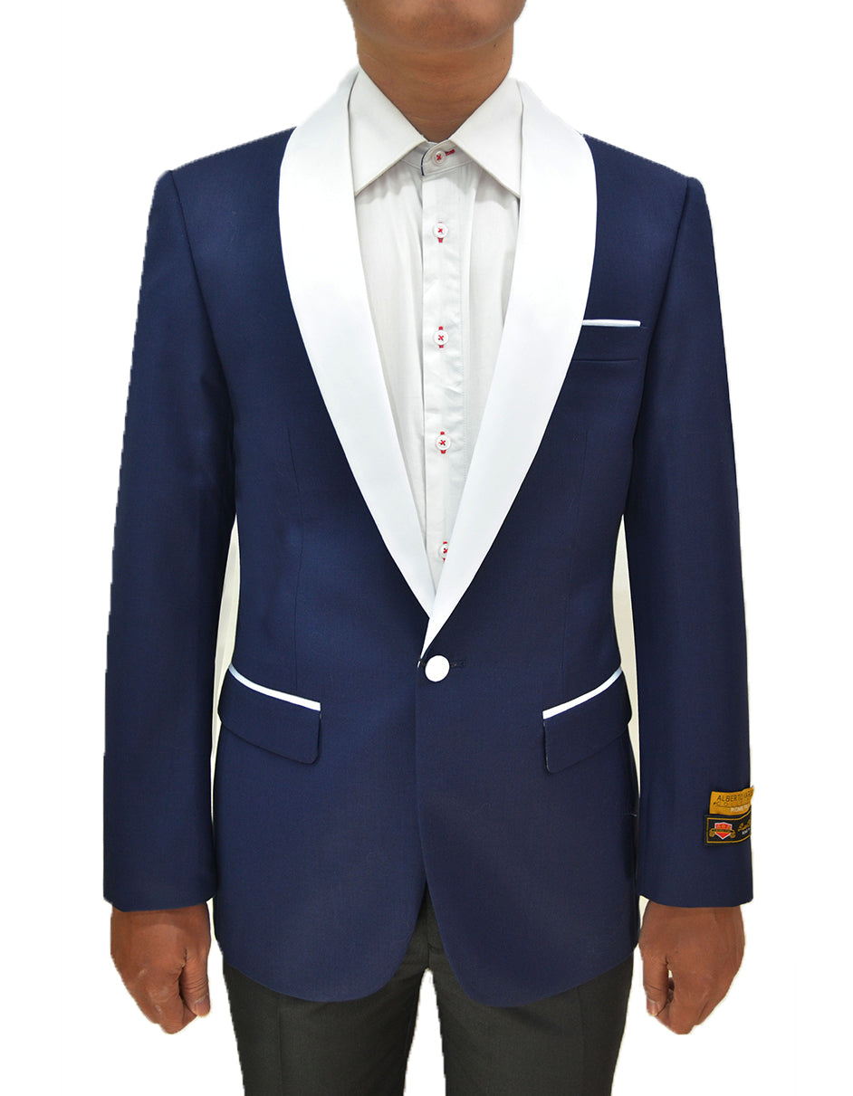 Mens One Button Contrast Shawl Collar Dinner Jacket Navy & White