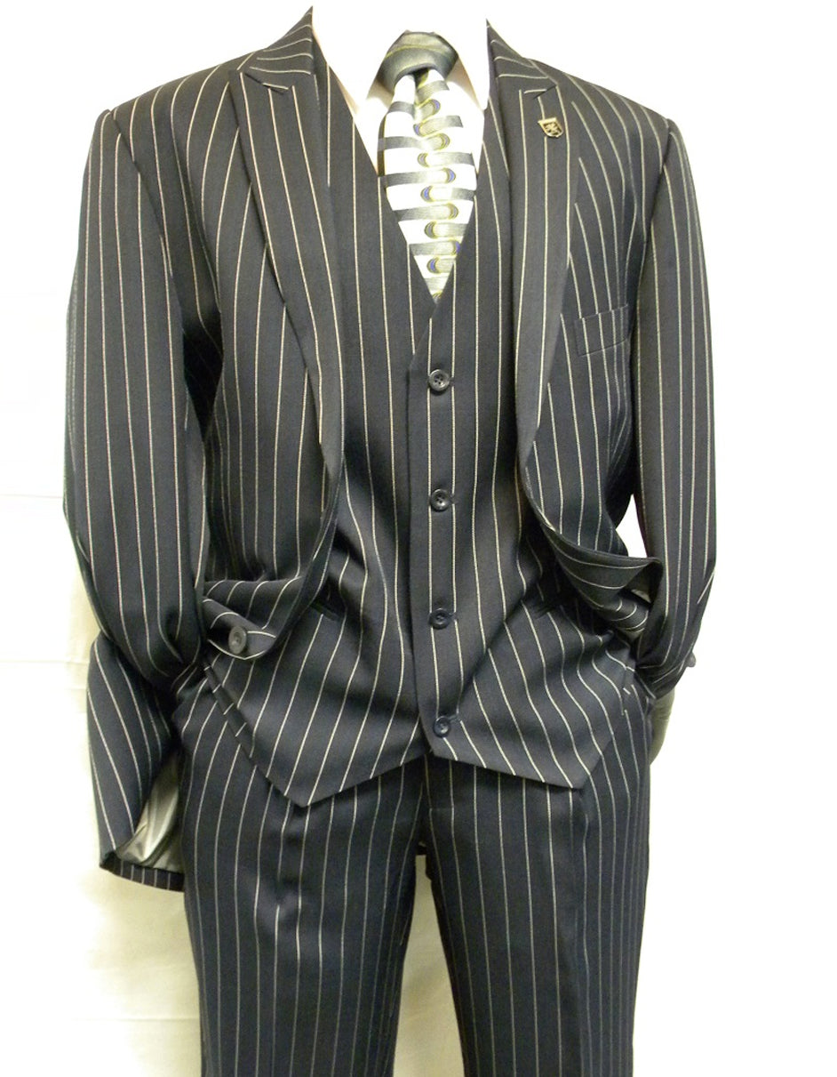 Mens 2 Button Gangster Pinstripe Suit in Navy