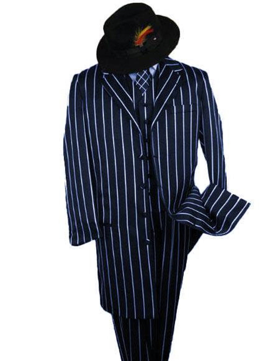 Mens Gangster Zoot Suit in Navy & White Chalk Stripe