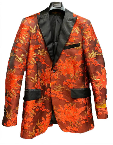 Mens Paisley Floral Tuxedo Jacket in Orange & Red