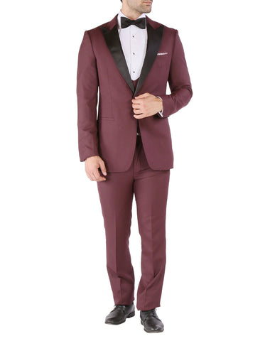 Mens Vested Slim Fit Peak Tuxedo in Burgundy