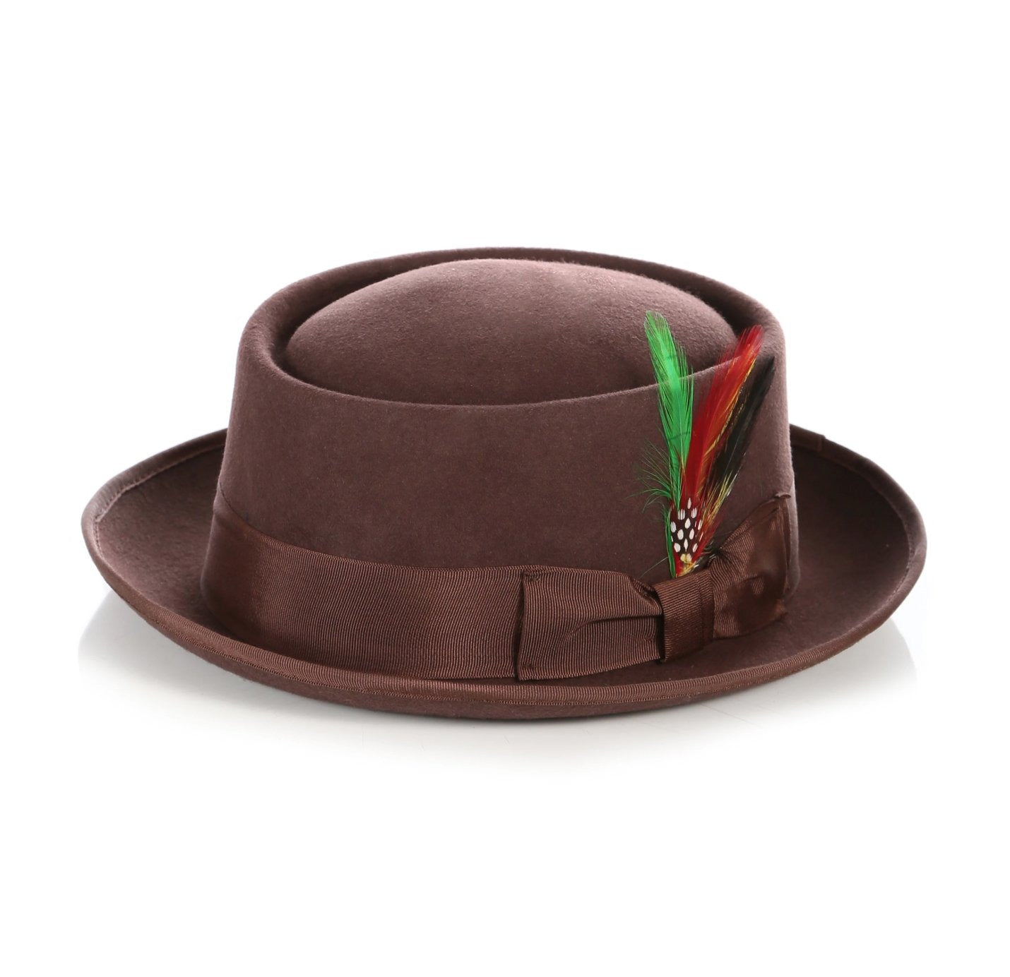 Mens Pork Pie Hat in Brown
