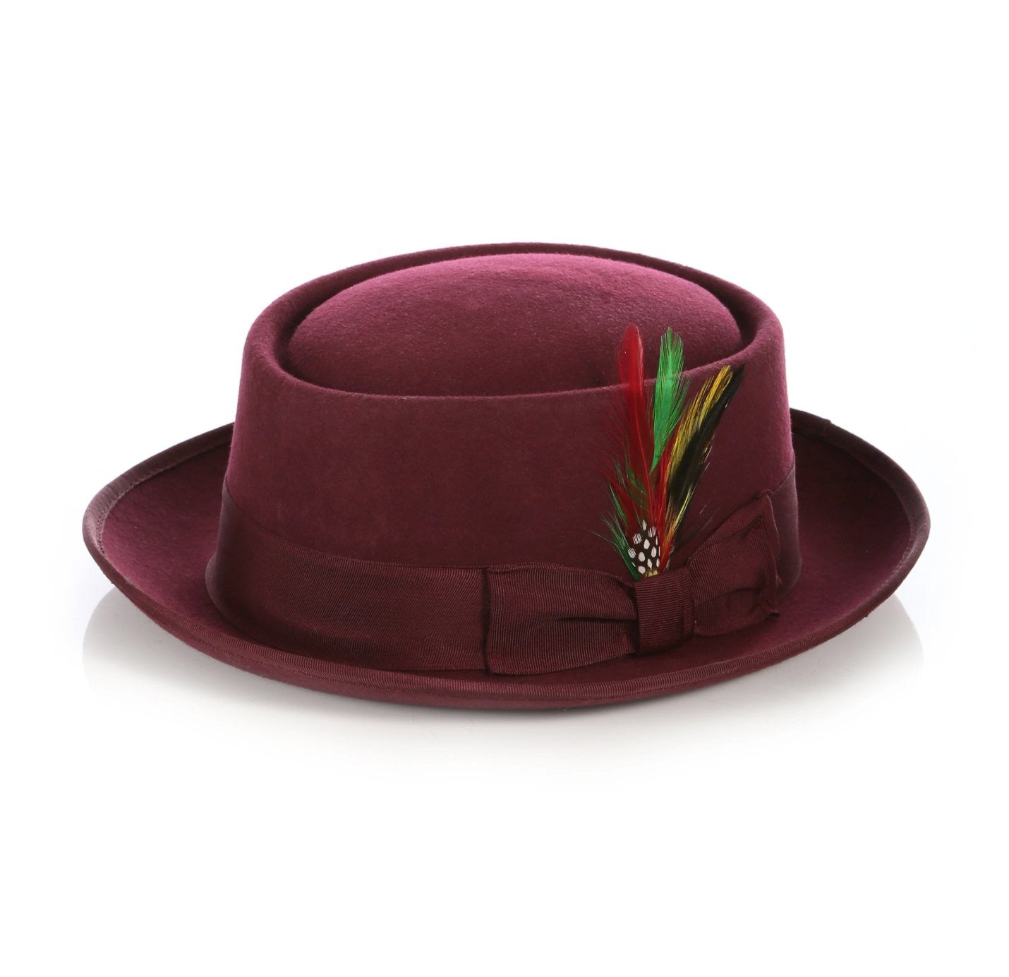 Mens Pork Pie Hat in Burgundy