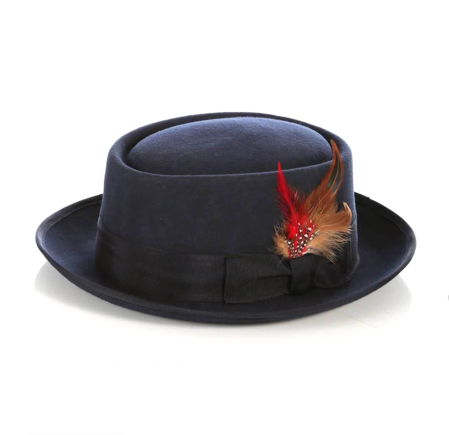 Mens Pork Pie Hat in Navy Blue