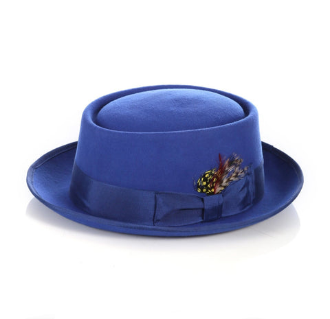 Mens Pork Pie Hat in Royal Blue