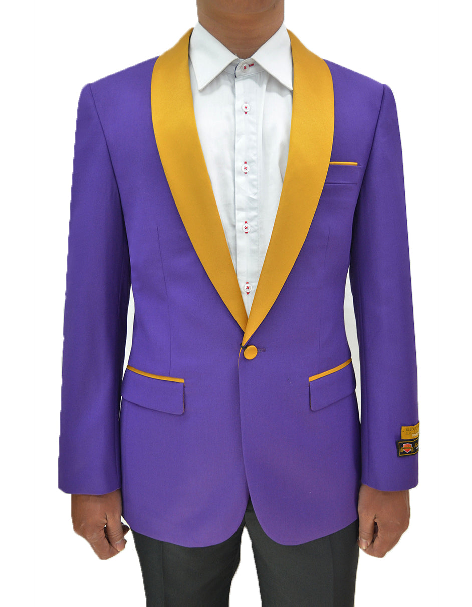 Mens One Button Contrast Shawl Collar Dinner Jacket Purple & Gold