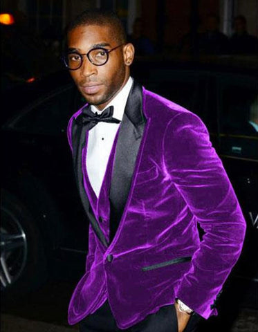 Mens Designer Velvet Tuxedo in Purple