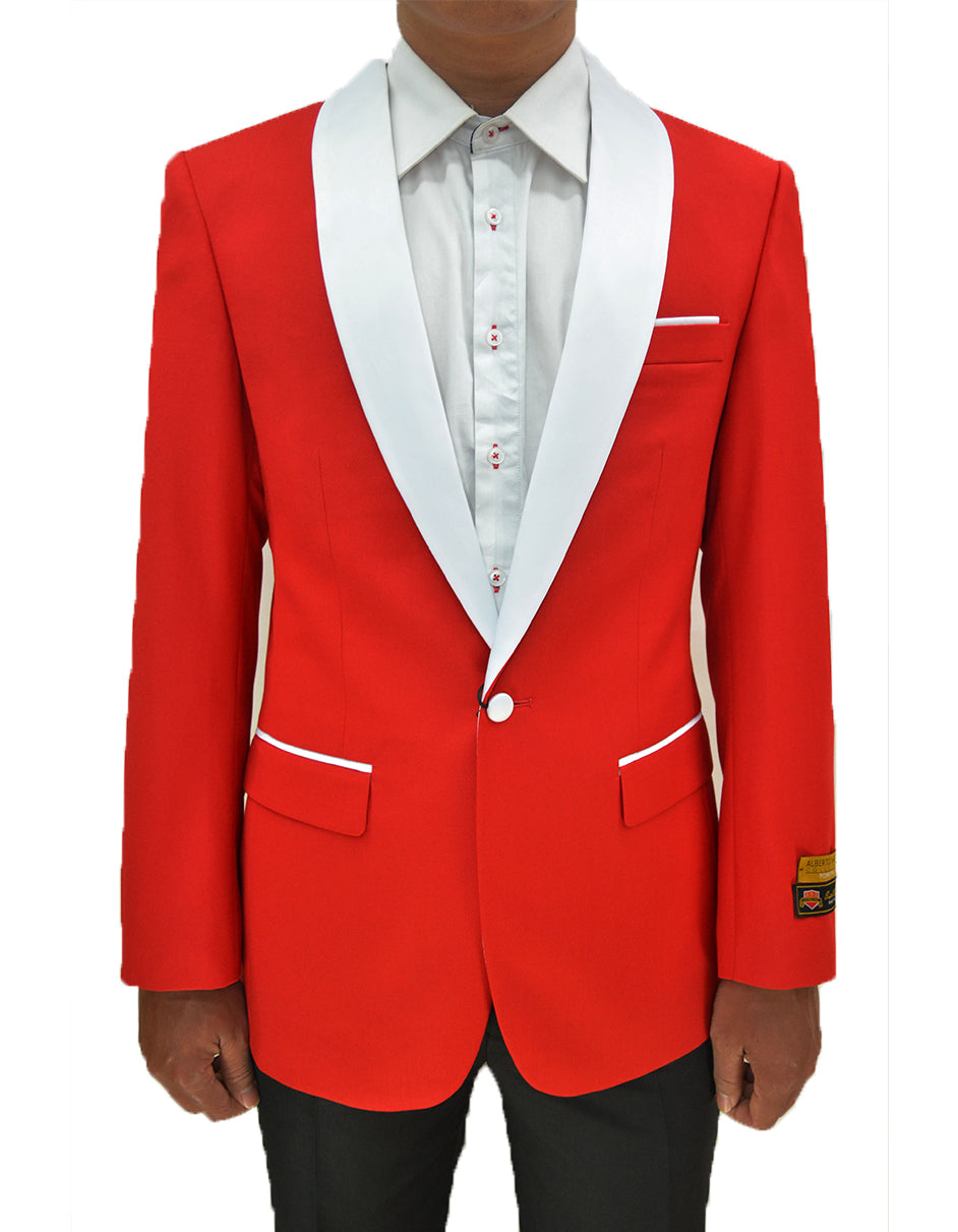Mens One Button Contrast Shawl Collar Dinner Jacket Red & White