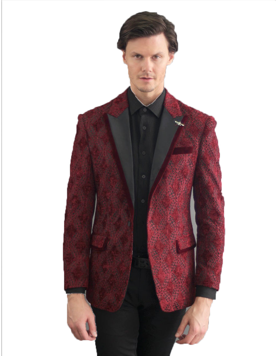 Mens Ornate Velvet Lace Pattern Blazer in Burgundy