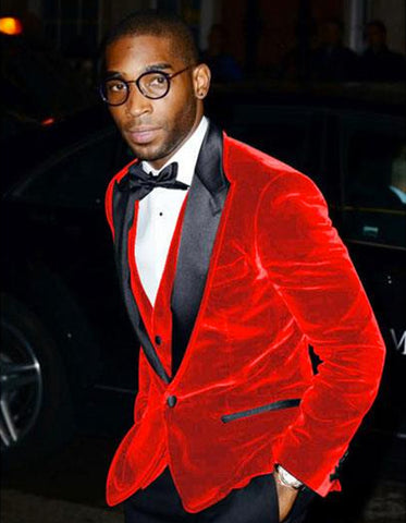 Mens Designer Velvet Tuxedo Jacket in Red