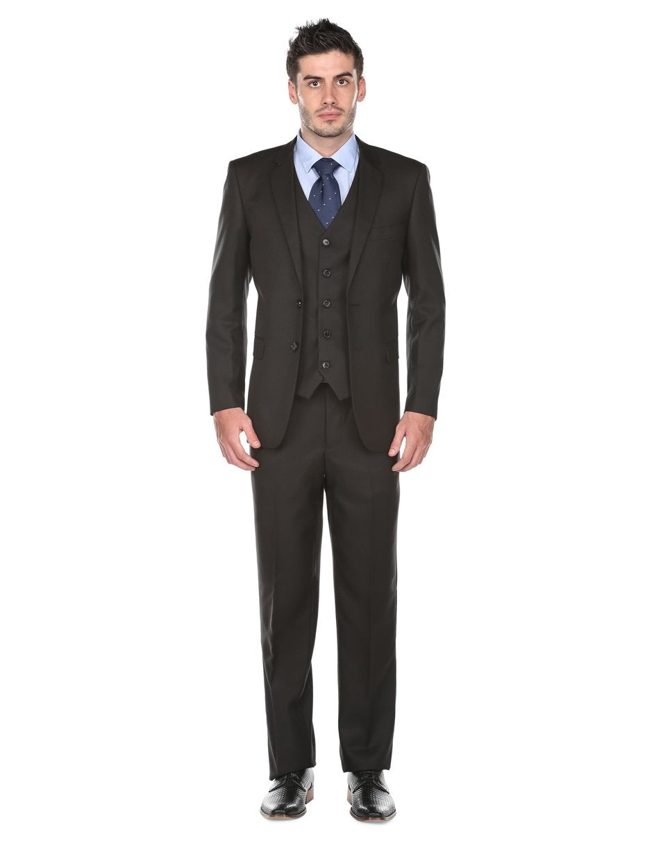 Mens Regular Fit Vested Funeral Suit Black