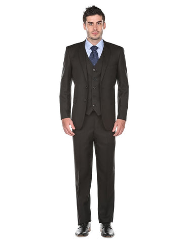Mens Regular Fit Vested Suit Black