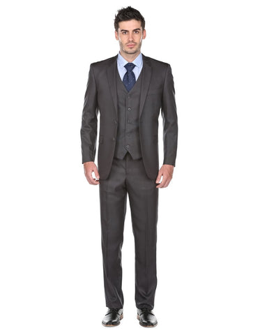 Mens Regular Fit Vested Suit Charcoal Grey