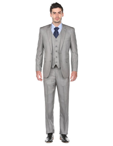 Mens Regular Fit Vested Suit Light Grey