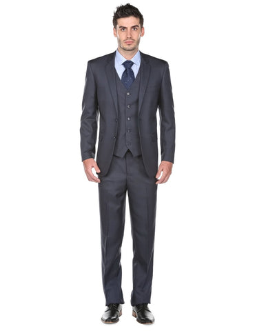 Mens Regular Fit Vested Suit Navy Blue