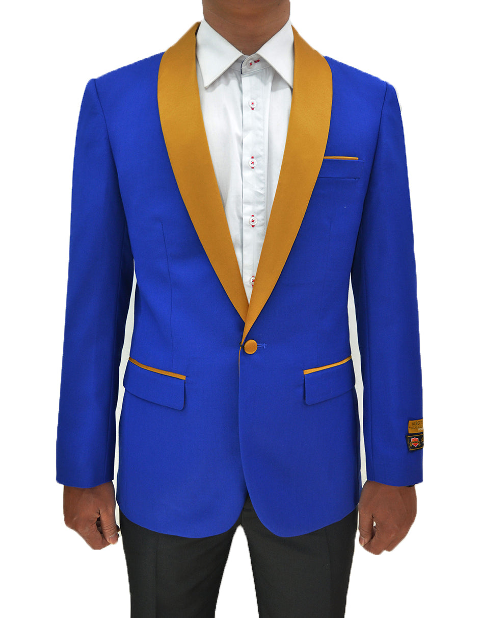 Mens One Button Contrast Shawl Collar Dinner Jacket Royal Blue & Gold