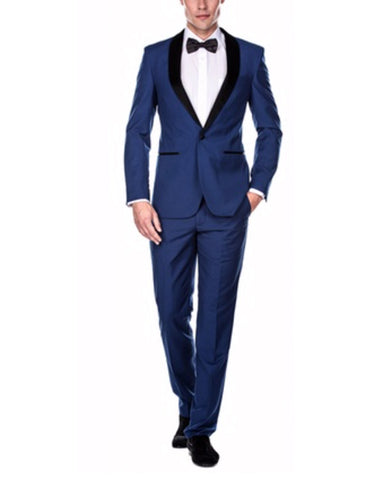 Mens Slim Fit 1 Button Shawl Prom Tuxedo in Royal Blue