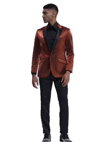 Mens Satin Smoking Jacket in Rust | Prom