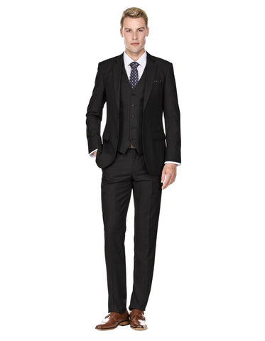 Mens Savvy Slim Vested Suit Black