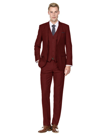 Mens Savvy Slim Vested Suit Burgundy