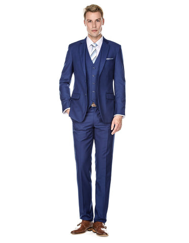 Mens Savvy Slim Vested Suit Indigo