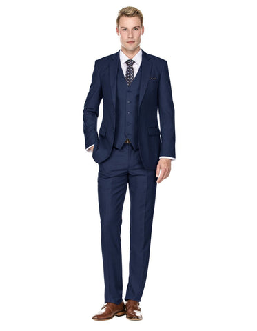 Mens Savvy Slim Vested Suit Navy Blue