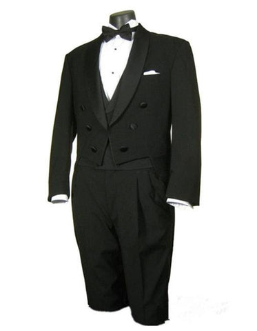 Mens 3pc Vested Classic Tail Tuxedo with Shawl Lapel in Black