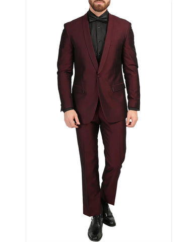 Mens Slim Fit Sharkskin Shawl Tuxedo in Burgundy