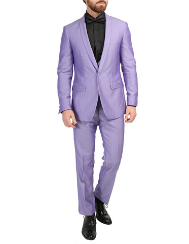 Mens Slim Fit Sharkskin Shawl Tuxedo in Lavender
