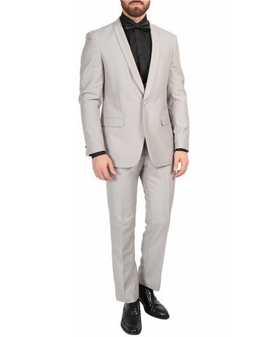 Mens Slim Fit Sharkskin Shawl Tuxedo in Light Grey