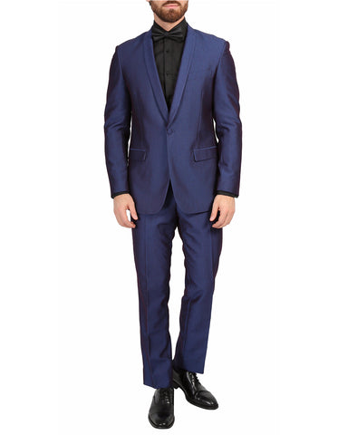 Mens Slim Fit Sharkskin Shawl Prom Tuxedo in Navy Blue